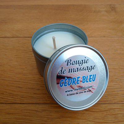 bougie de massage cedre bleu